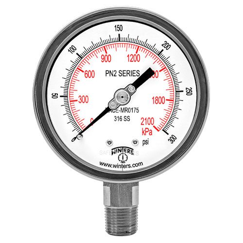 PN2 NACE LIQUID FILLED PRESSURE GAUGE-MR0175-2002
