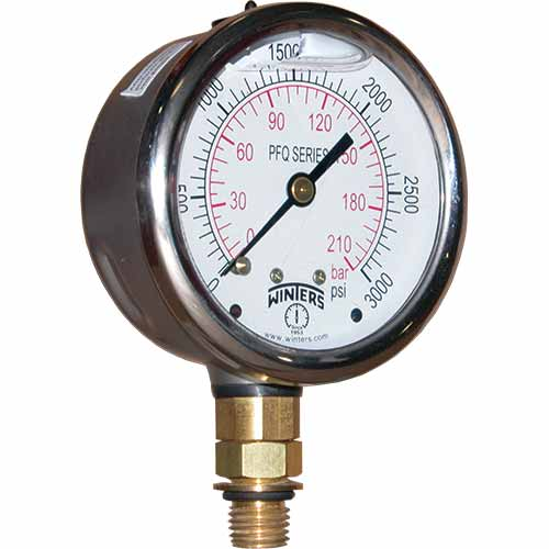 PFQ STAINLESS STEEL LIQUID FILLED PRESSURE GAUGE WITH SAE CONNECTION